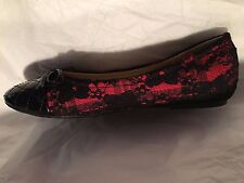 RED BALLET FLATS BLACK LACE PSYCHO-ROCKABILLY  ROUND TOE HOUSEWIFE SHOES sz 7.5