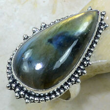 HUGE! TOP QUALITY BLUE FIRE LABRADORITE SILVER RING SIZE 8 *FREE SHIPPING!*