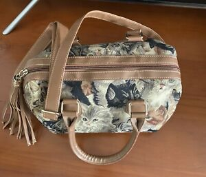 Signare Tapestry Cat Hand Bag With Shoulder Strap New