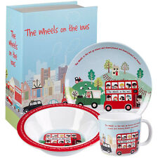 Little Rhymes The Wheels On The Bus 3 Piece Melamine Breakfast Set in Paper Box