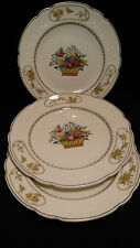 Set of 3 Antique Spode Copeland England Birds Flower Basket Dinner Plates 1920's