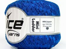 Blue Mini Ladder Ribbon Yarn #58089 Ice Solid Color Not Metallic Ribbon Yarn 50g