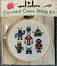 Spot Colors~Counted Cross Stitch Kit ~ROBOTS ~ Super Cute Beginner Kit NIP