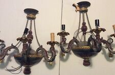 Pair of Electric Triple Candle Wall Sconce Light Fixtures Harchow Wood
