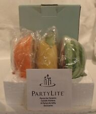 Partylite Summer Fest Fruits Tealight Set of 3 Ceramic Candle Holders New Nib