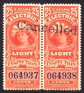 CANADA ELECTRIC LIGHT EFFIGY #FE8a 25c PAIR, 1900 PURPLE CONTROL #, PRECANCEL NH