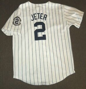 VTG DEREK JETTER NEW YORK YANKEES MLB BASEBALL MAJESTIC SEWN JERSEY YOUTH MEDIUM