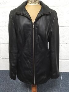 Ladies WILSONS Leather Black Zip Up Jacket Size Large Approx UK12 VGC
