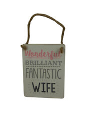 Gisela Graham Wonderful Wife Plaque - Token Anniverasry Gift - Hanging Sign