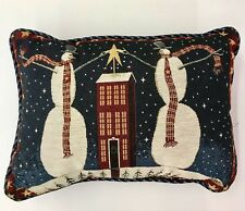 """Christmas Pillow Throw 2 Snowmen Star With Plaid Back Holiday 16""""X13"""""""