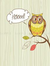 PAINTING ILLUSTRATION CARTOON OWL HOOT LEAVES BRANCH CUTE POSTER PRINT BMP10620