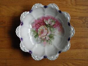 "Vtg 11"" Scalloped-Edge Bowl-White & Purple Iridescent-Seltmann-Bavaria-Signed"