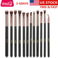 US 12Pcs Eye Makeup Brush Set Blend Shadow Angled Eyeliner Smoke Brushes Tools