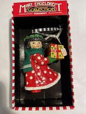 "Vtg Mary Engelbreit 4"" Little Girl Present - Just For You Christmas Ornament Euc"