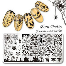 BORN PRETTY Nagel Stempel Schablone Nail Art Stamping Plate Halloween Muster DIY
