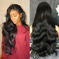 Black Curly Wavy Brazilian Remy Human Hair Body Wave Lace Front Hair Wigs New hi