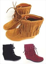 Womens Round Toe Lace Up Fringe Braid Moccasin Wedge Ankle Boot New