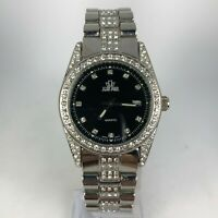 Jean Paul Womens Quartz Analog Glass Mineral Crystal Jeweled Wristwatch Silver