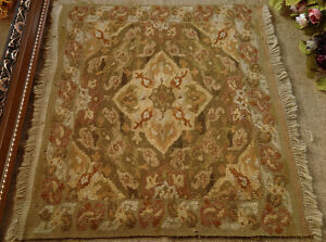 1.9' Antique Shabby Hand Made Wool French Aubusson Rug