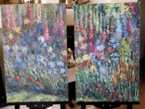 DIPTYCH FLORAL STILL LIFE OIL CANVAS ORIGINAL PAINTING RUSSIAN ART SIGNED LISTED