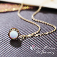 18K Rose Gold Plated Simulated Opal Exquisite Simple Tiny Round Necklace