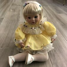 1989 Danbury Little Girl Porcelain Doll Blonde HairrYellow Gingham Dress