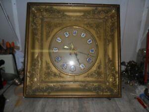 Grande pendule mural second Empire, oeil de boeuf ,horloge,pendule,mécanisme