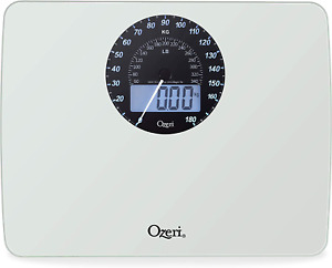 Ozeri Rev Digital Bathroom Scale With Electro Mechanical Weight Dial White NEW