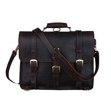 Mens Top Quality Full Grain Leather Satchel Briefcase Large Messenger Bag Bag