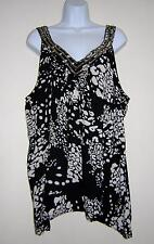 LANE BRYANT TOP BLOUSE BLACK BEIGE PRINT BEADED NECKLINE PLUS SIZE 20 EUC!