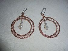 DOUBLE CIRCLE COPPER WIRE WRAPPED EARRINGS PEARL BEADS #300