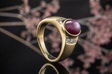 Schmuck Elegant zulaufender Sternrubin Ring mit Brillanten matt in Gelbgold 750
