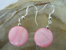 Edle 15 mm Pink Perlmutt Scheiben Button Ohrringe Ohrhänger Earrings