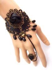 FAUX LEATHER MANDALA SLAVE BRACELET bronze black cuff & ring gothic tribal N6