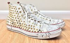 Converse All Star Mens White Studded High Tops Sneakers Size 16 Custom