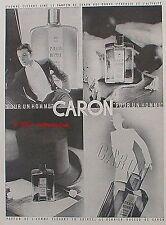 PUBLICITE PARFUM CARON POUR UN HOMME CHAPEAU DE 1935 FRENCH AD PERFUME PUB