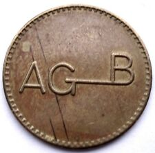 Italy, Agb Alban Giacomo Spa Hardware Systems Token 24mm 3.8g Brass, Rare Gg7.2