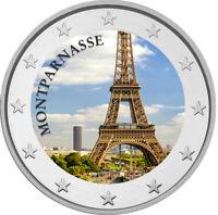 2 Euro Gedenkmünze mit Eiffelturm coloriert mit Farbe  /  Farbmünze Montparnasse