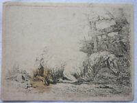 KUPFERSTICH um 1810 RUHENDES SCHAF mit Stockfleck ca. 10,5 x 8 cm