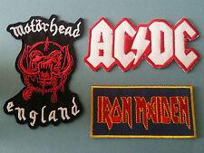 SET OF THREE MUSIC SEW/IRON ON PATCHES:- AC/DC, IRON MAIDEN, MOTORHEAD (b)