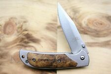 "Couteau Small Falcon Silver Pocket Knife- 9 cm/ 3.54"" closed w/ hard wood Handle"