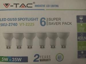V-TAC LED GU10 Spotlight Bulbs SKU-2740 VT-2225 5W = 35 W 6 Pack