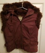 NORI Fur Lined Hooded Vest Jacket ~ Zip Up ~ Brown ~ Large