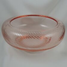 Tiffin Glass ~ 15331 Pink Glass Cupped Console Bowl ~ Spiral Optic