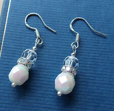 STERLING SILVER AURORA BOREALIS CRYSTAL & WHITE CARNIVAL GLASS EARRINGS. NEW