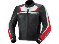 iXS Lederjacke Shertan | Schwarz-Rot-Weiß | Motorradjacke aus Rindsleder