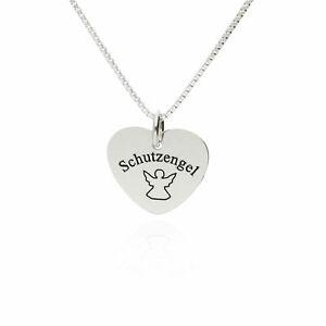 Kinderkette Herzkette 925 Silber Schutzengel personalisiert mit Namen Gravur