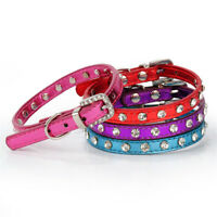 Pet Dog PU Leather Collar Charm Adjustable Small Puppy Cat Buckle Neck Strap