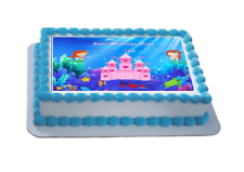 Novelty Personalised Mermaid Castle A4 Edible Icing Cake Topper birthday