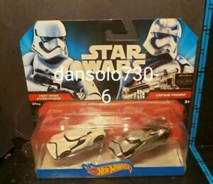 Hot Wheels Star Wars FIRST ORDER STORMTROOPER CAPT PHASMA Character Car 2-Pack